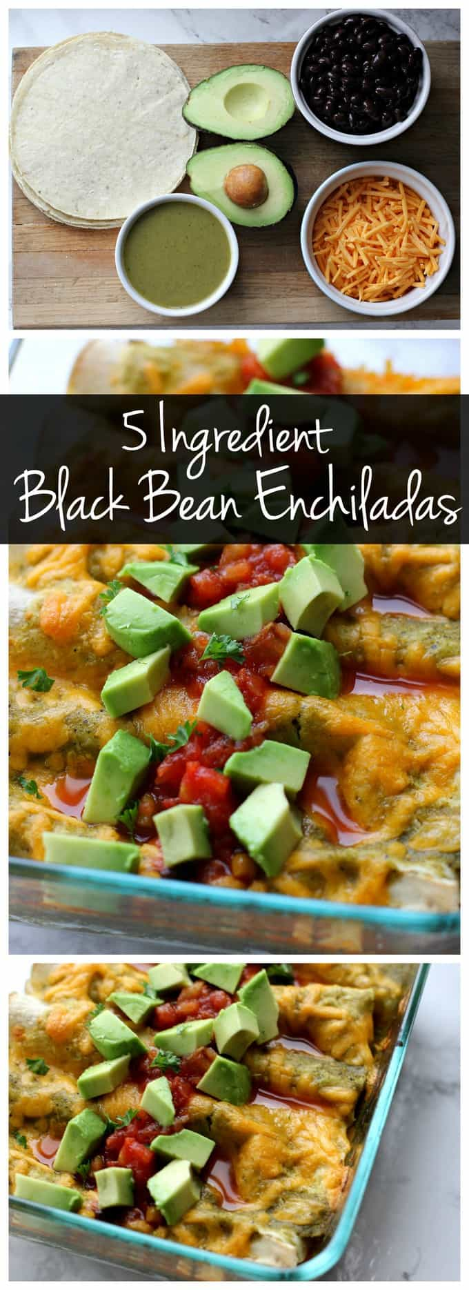 These 5 ingredient black bean enchiladas only take a few minutes to assemble so they\'re a perfect vegetarian weeknight recipe! Try these with your favorite salsa verde. You won\'t believe how easy this recipe is!