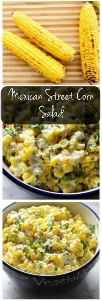 This spicy Mexican street corn salad is the perfect side dish for tacos, burritos, or enchiladas!