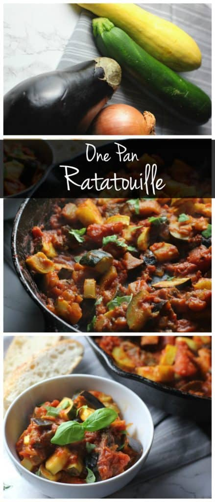This one pan ratatouille is the perfect meatless recipe! You can use whatever vegetables you have on hand to create an easy healthy dinner!