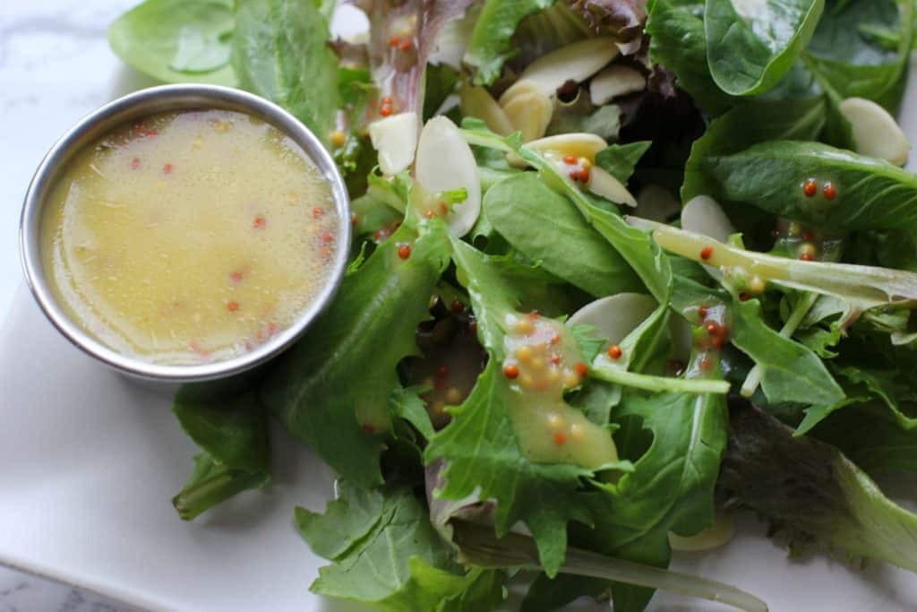 Skip the bottled salad dressing and make this healthier honey mustard dressing!