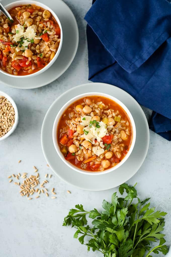 Chickpea Farro Soup