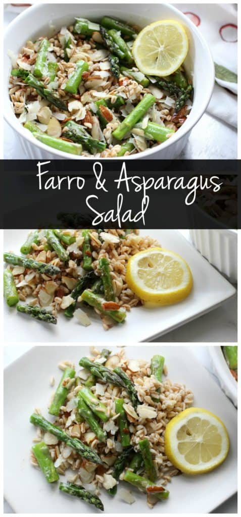 Chewy farro and tender asparagus make this salad a perfect vegetarian main dish with plenty of protein!