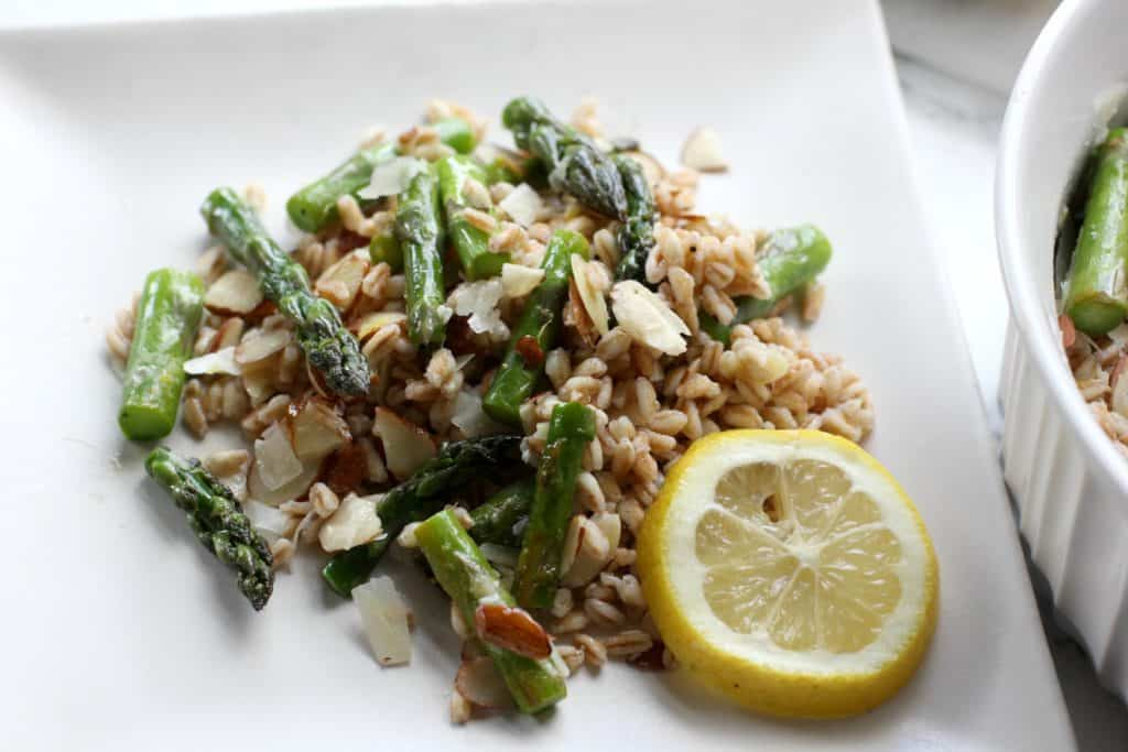 asparagus and farro on a plate
