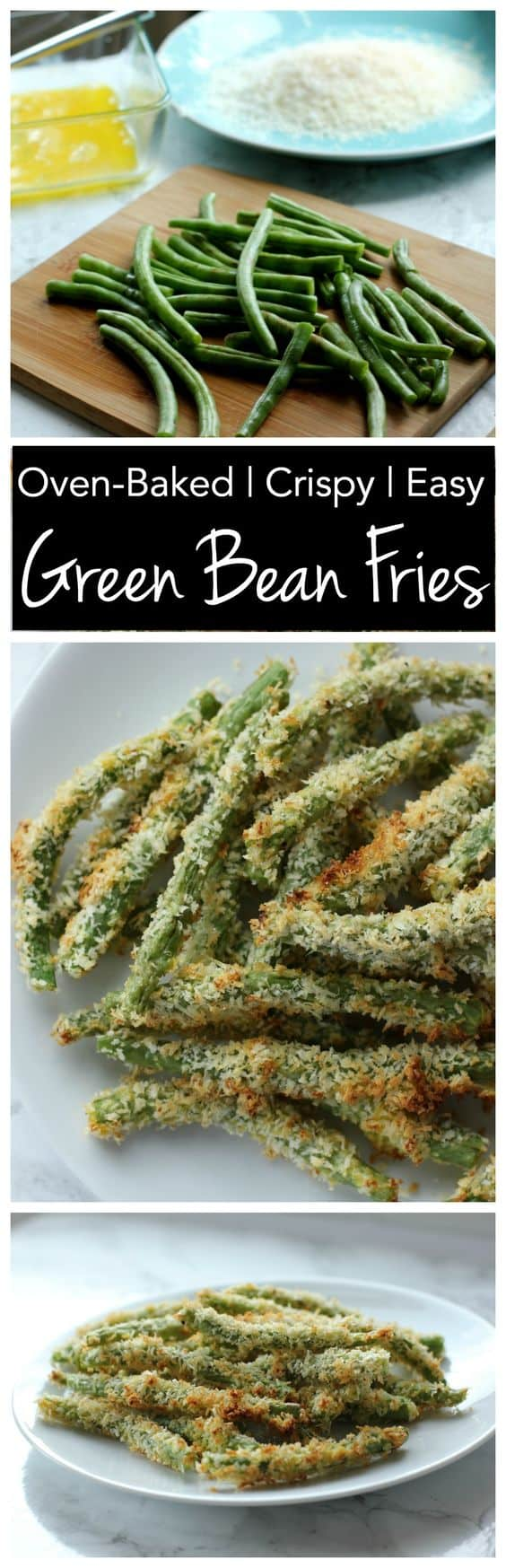These crispy crunch green bean fries are baked in the oven so they\'re low in fat! Perfect for a healthy side dish!