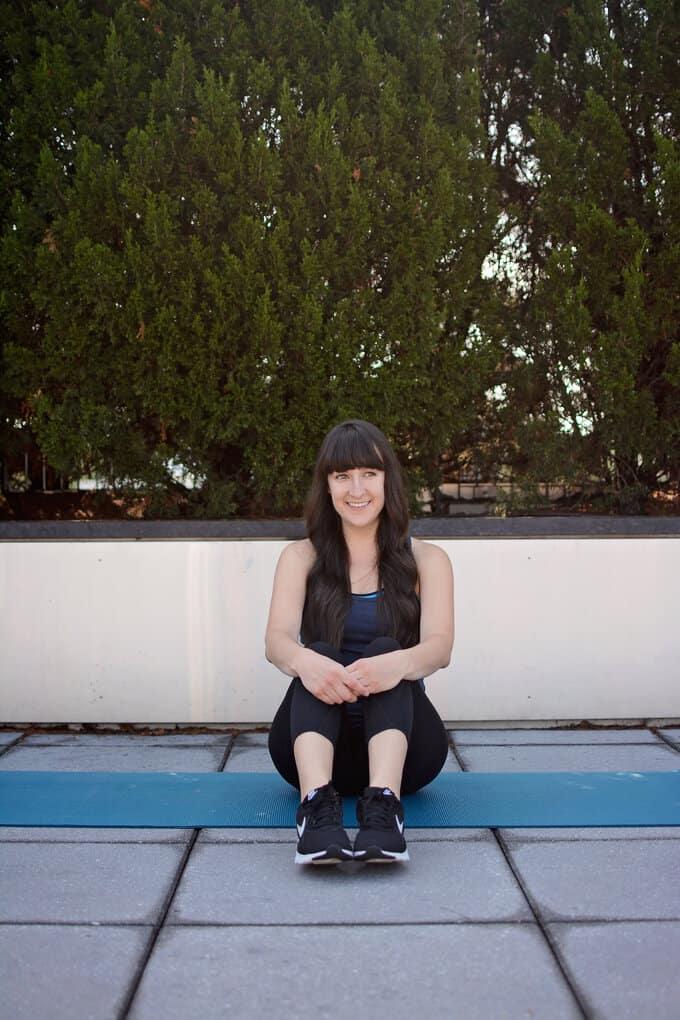Liz on a yoga mat