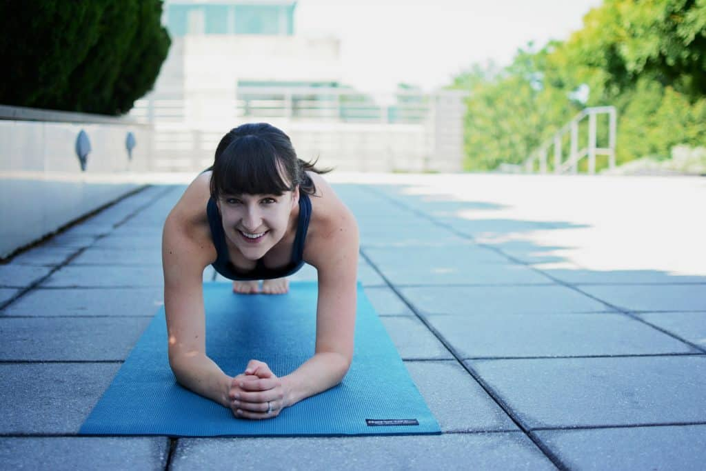 me on a mat in a plank pose