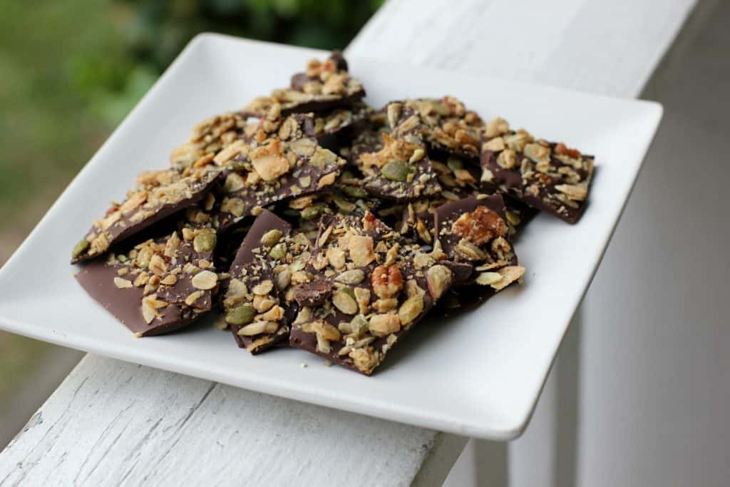 granola bark pieces on a plate