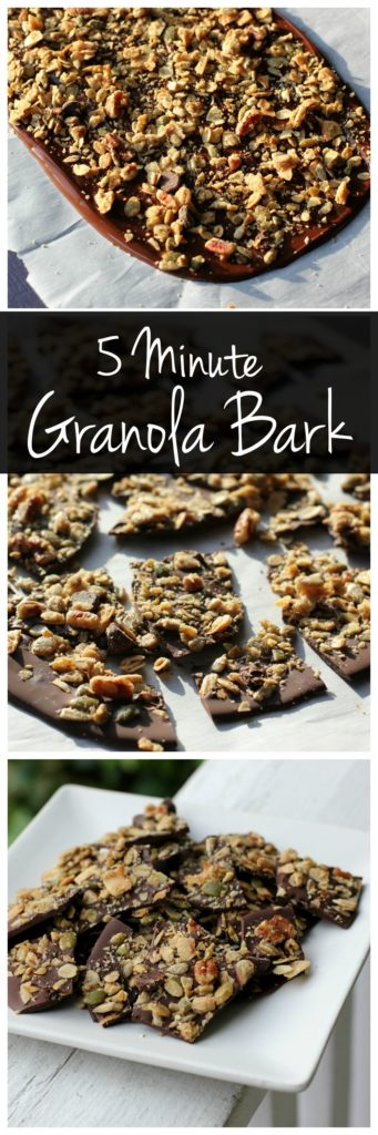 This chocolate granola bark is a sweet and salty dessert that only takes 5 minutes of prep! It's a perfect no-bake dessert that kids and adults will both love!