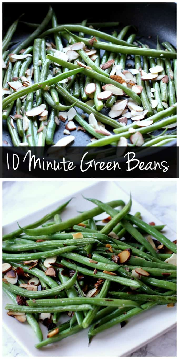 These green beans only take 10 minutes to prepare from start to finish! They're a quick and easy side dish, perfect for a healthy weeknight dinner!