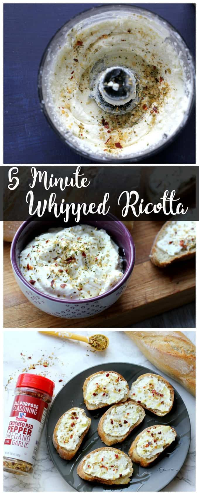 This 5 minute whipped ricotta is a quick and easy appetizer! It's perfect spread on a slice of a crusty baguette!