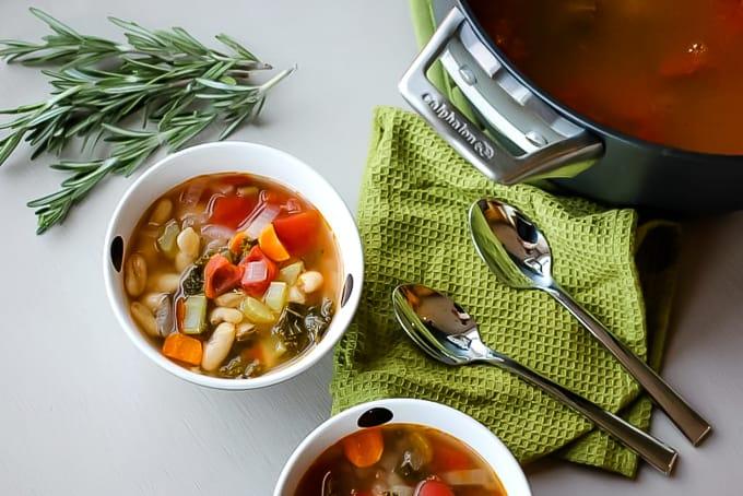 white bean soup in a bowl