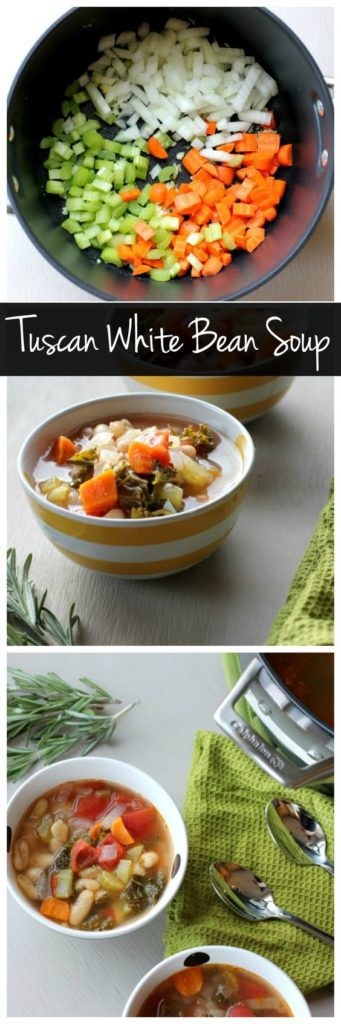 This one pot tuscan white bean soup is an easy vegetarian recipe that the whole family will love! It's vegan, gluten free, low calorie, and easy to make!