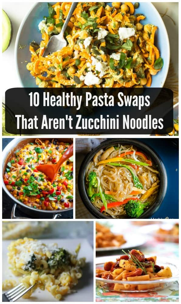 Think beyond zucchini noodles- there's a whole world of pasta swaps out there! Try chickpea pasta, sweet potato noodles, and spaghetti squash recipes that are healthy, vegetarian, lower carb, and easy enough for a weeknight meal!