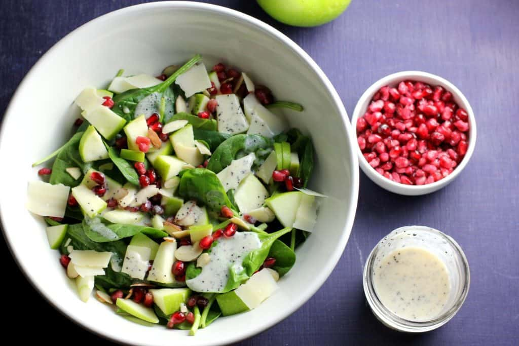 Spinach Pomegranate Salad with Poppy Seed Dressing