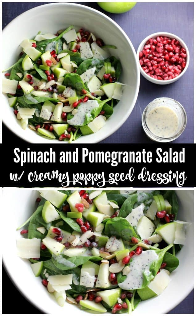 This spinach salad is full of sweet pomegranate seeds, tart apples, and crunchy almonds. Topped with a creamy homemade poppy seed dressing, this salad is a perfect weeknight dinner! Vegetarian & gluten free!