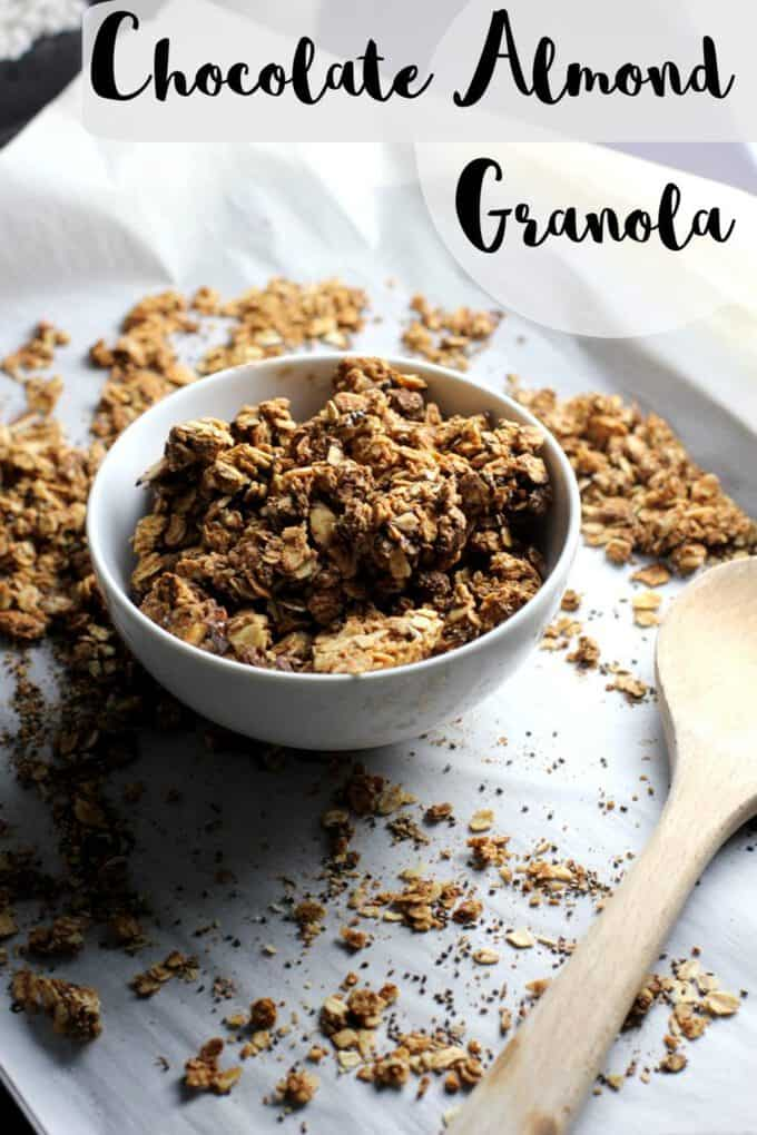 This chocolate almond granola is full of nutty clusters. You only need a few ingredients to make this delicious granola!