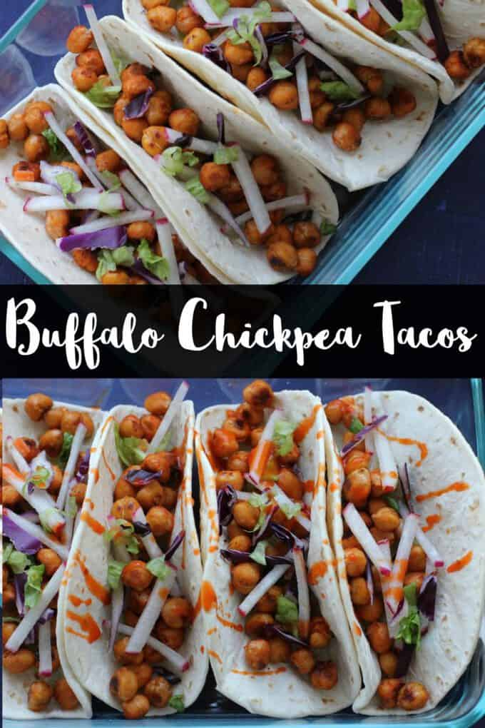 These spicy buffalo chickpea tacos are vegan and gluten free! Perfect for a vegetarian weeknight meal! #vegan #glutenfree #vegetarian #tacos