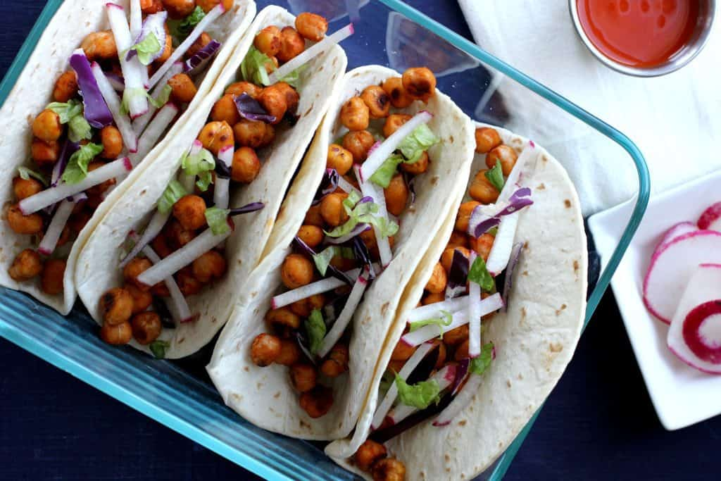 vegan buffalo chickpea tacos