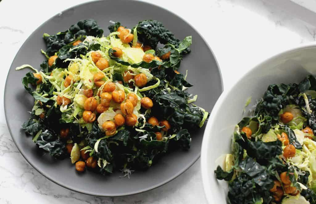 chopped kale salad with chickpeas
