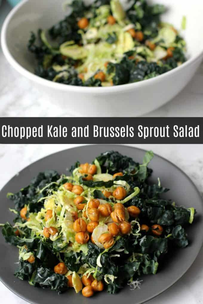 This crunchy kale and Brussels sprout salad is a deliciously crunchy vegetarian salad that will really fill you up! #vegetarian #glutenfree #salad