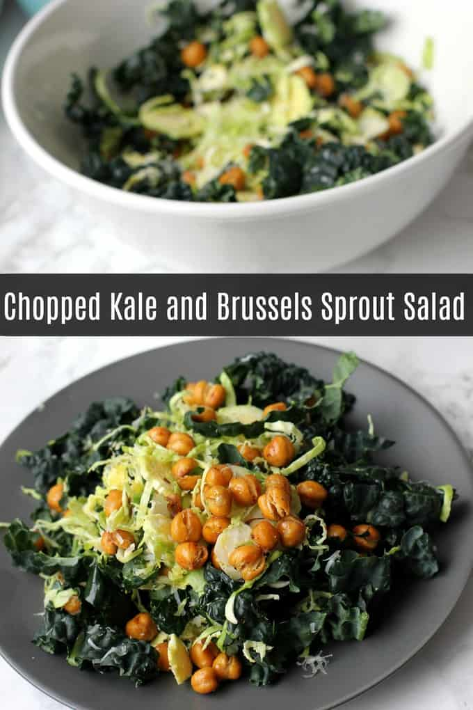 This chopped kale and Brussels sprout salad is a deliciously crunchy vegetarian salad that will really fill you up! #vegetarian #glutenfree #salad