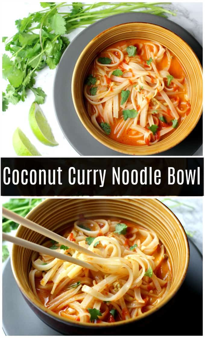 This coconut curry noodle bowl is deliciously spicy. It's an easy recipe, perfect for a weeknight dinner! #vegetarian #glutenfree #vegan