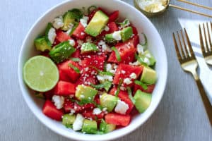 Watermelon and Feta Salad with Avocado