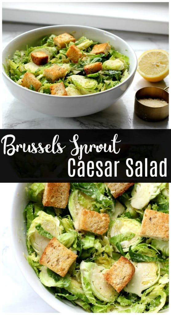 This easy Caesar salad recipe is made with Brussels sprouts instead of lettuce for a super crunchy base! If you love hearty salads, this vegetarian Caesar salad is for you!