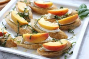 Peach and Burrata Bruschetta