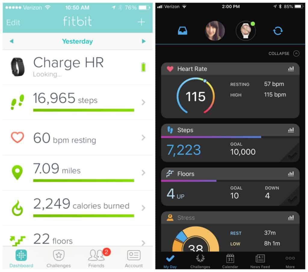 fitbit vs garmin interface