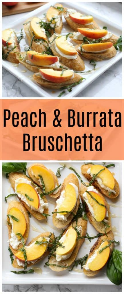 This peach and burrata bruschetta is the ultimate summer appetizer! Sweet peaches, creamy burrata, and crispy toasted bread make a deliciously simple snack.