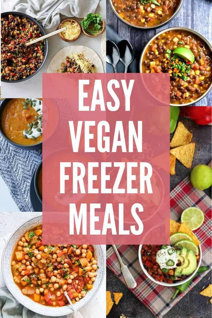 These easy vegan freezer meals make dinnertime easier! Whether you\'re making a double batch during meal prep or you\'re preparing for busy days ahead, these vegan recipe ideas make healthy eating easier!