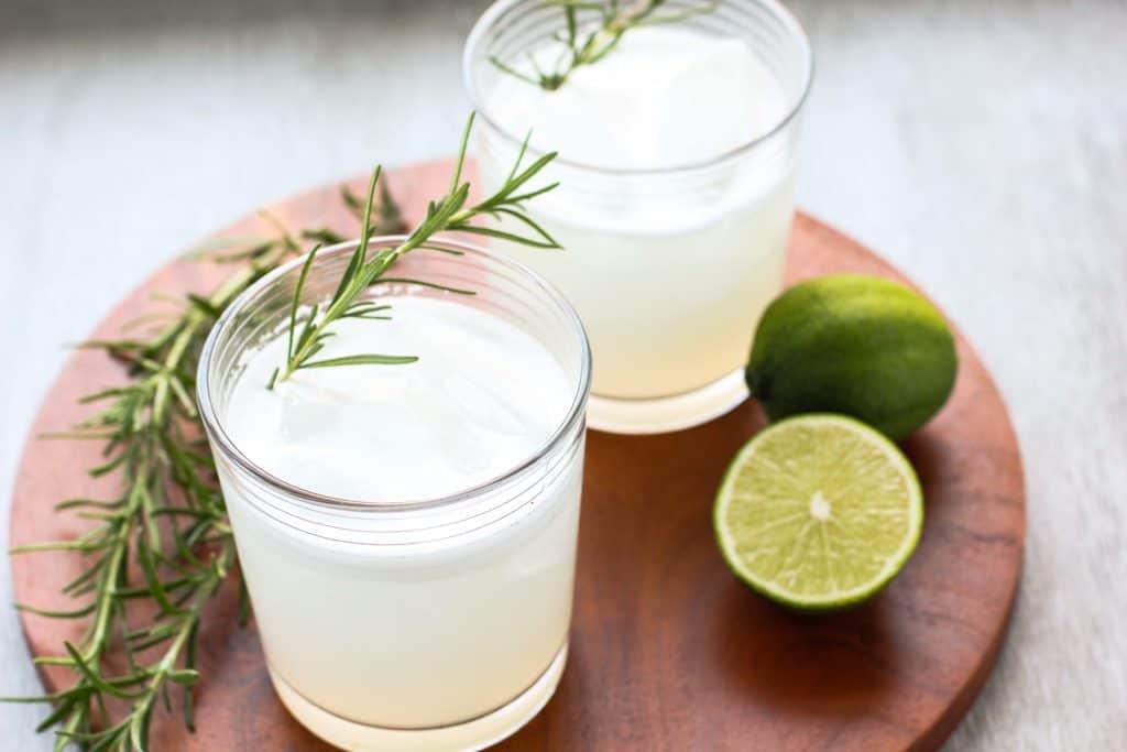 vegan gin fizz on a platter