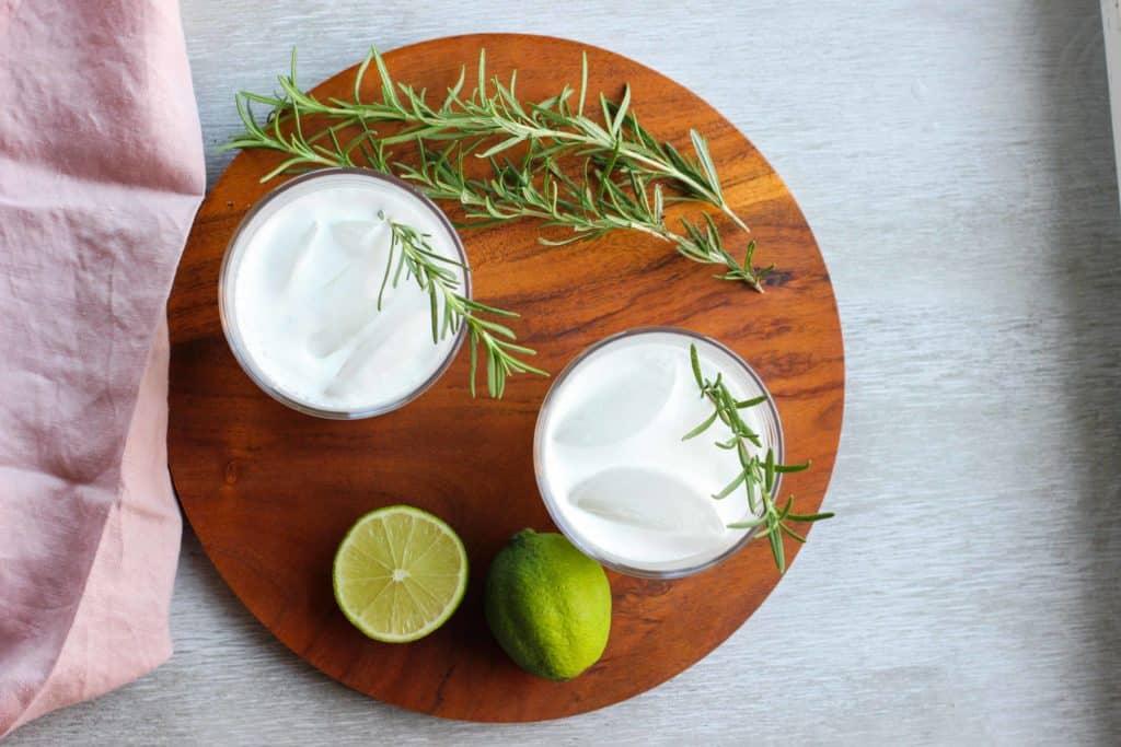 vegan gin fizz on a plate