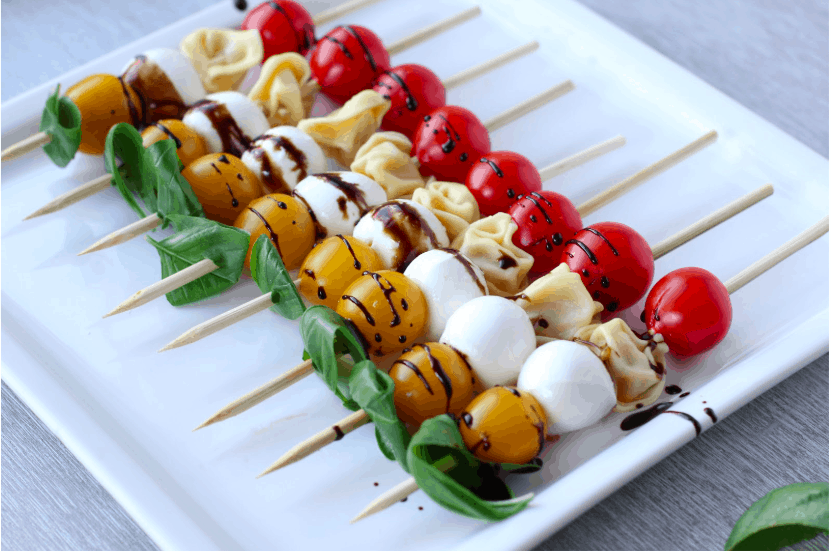 antipasto skewers on a plate