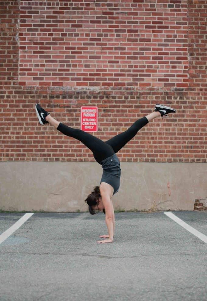 Liz doing a handstand