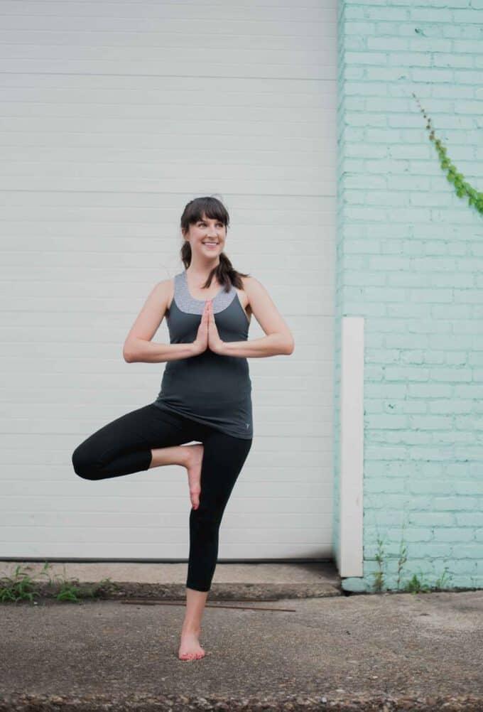 Liz doing yoga