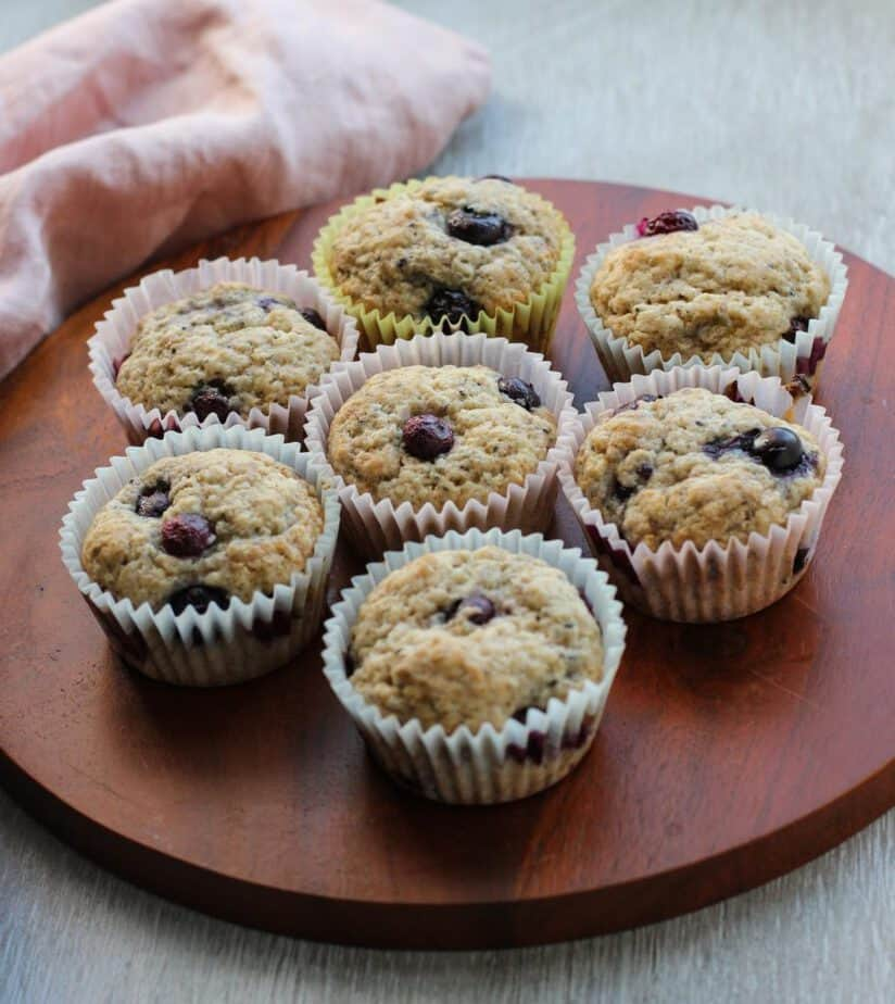 Muffins on a wooden platter