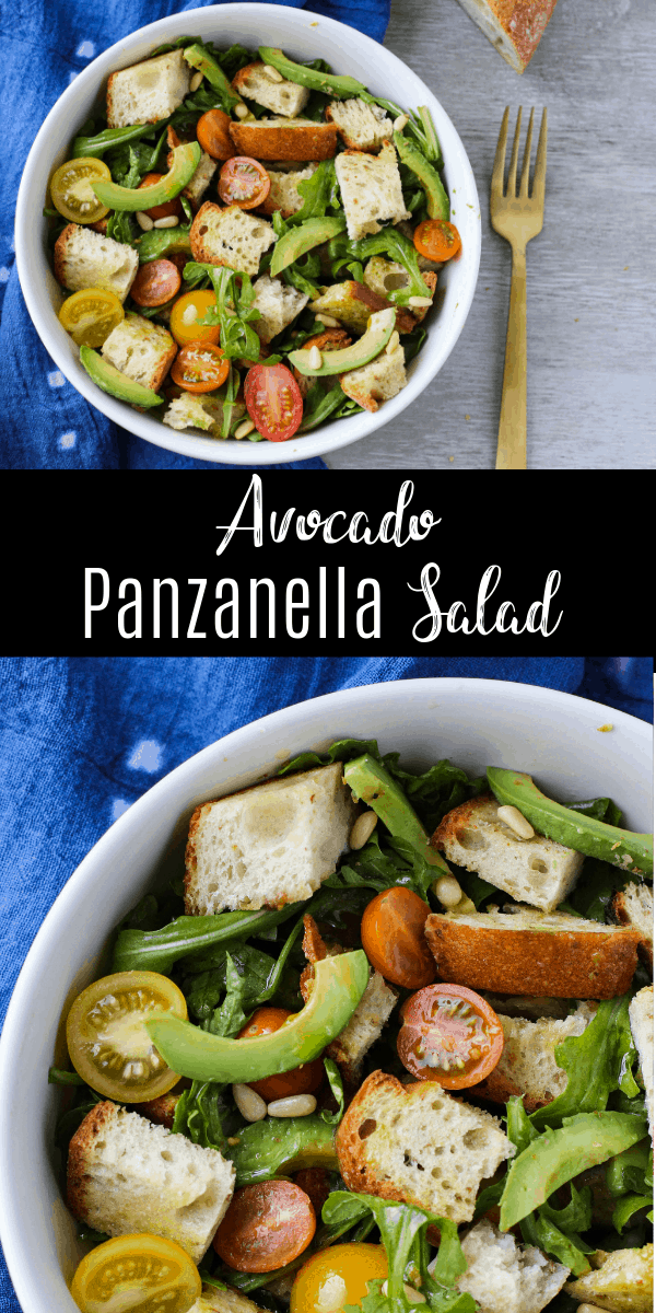 This Avocado Panzanella Salad is an amazing combination of textures and flavors. Creamy avocado, peppery arugula, sweet and juicy tomatoes, and plenty of crusty bread make this salad a delicious vegetarian main dish! It's a great fast and easy weeknight recipe.