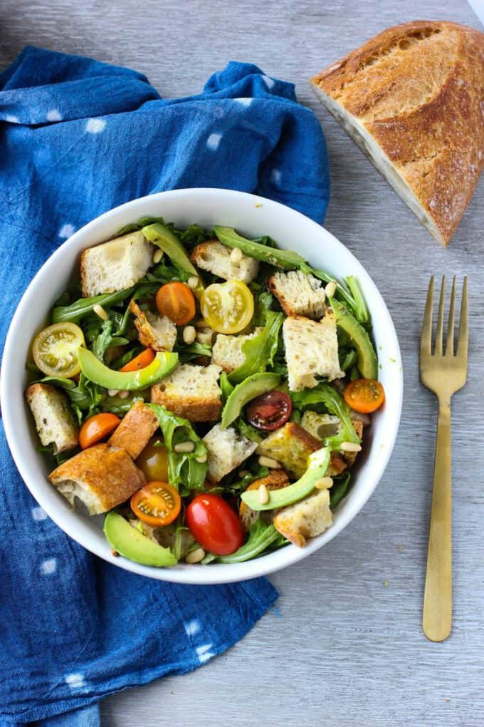 avocado and panzanella salad