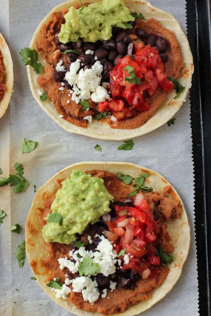 tostadas on a pan