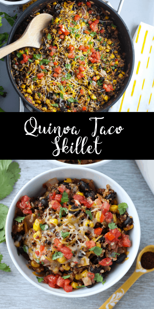This quinoa enchilada skillet is loaded with veggies and tons of spices. It\'s a light and healthy one pan dish, perfect for an easy weeknight meal! It\'s vegetarian and gluten free, and the leftovers reheat well for lunches!