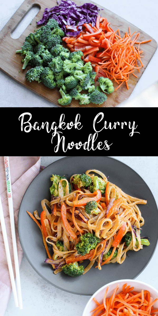 These Bangkok curry noodles are made with a spicy yet creamy coconut milk sauce and plenty of veggies! This recipe is vegan and gluten-free and it only takes 30 minutes to prepare! This Noodles & Company copycat recipe will have you coming back for seconds.