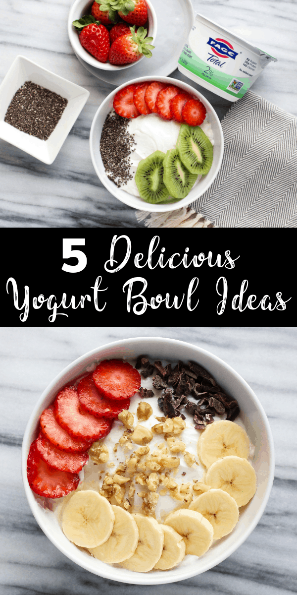 Switch up your snacks with these 5 easy yogurt bowl ideas! Grab a scoop of @Fageusa Total Greek yogurt and add a tasty combination of toppings for a satisfying treat! #FAGE #PlainExtraordinary