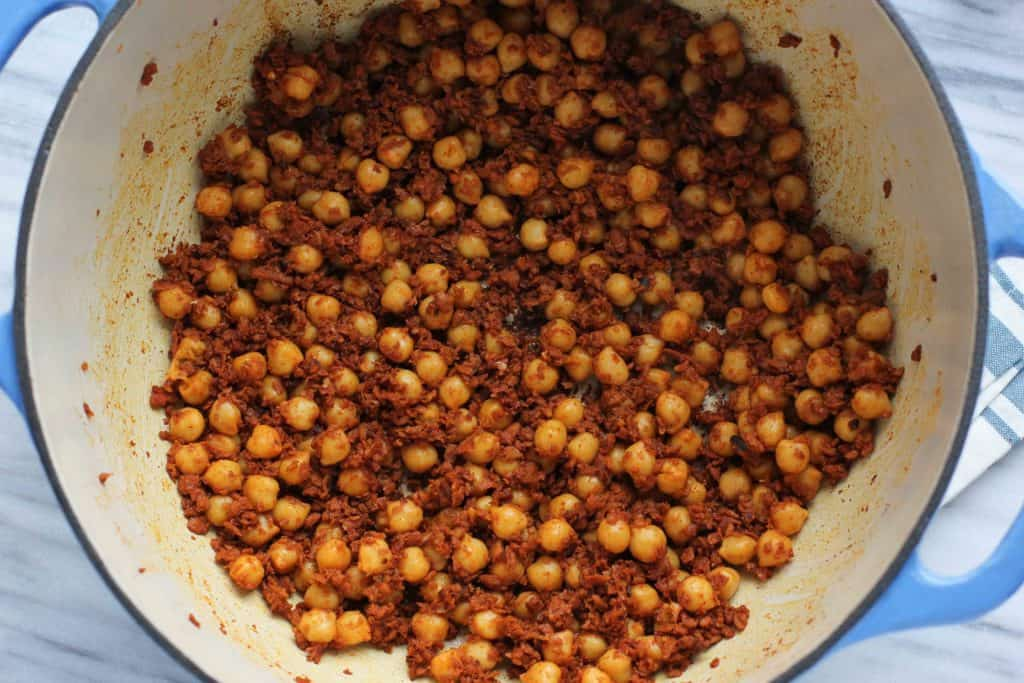 chorizo and chickpeas in a pot