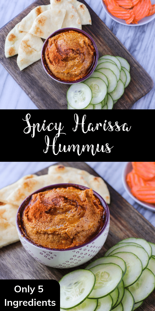 This easy harissa hummus is a delicious way to elevate your dip. Perfect with crunchy veggies or salty pita chips, this recipe is great for a crowd!