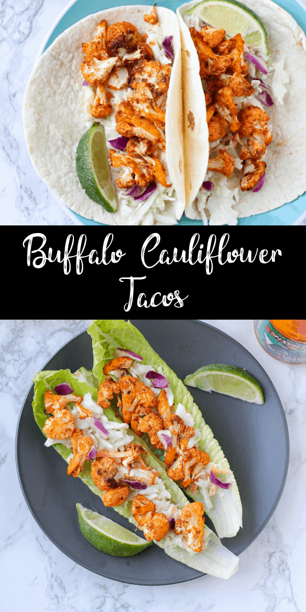 These spicy buffalo cauliflower tacos can be made in the oven or the air fryer! They\'re perfect for a meatless meal or low carb dinner. If you love spicy food, you HAVE to try these tacos!