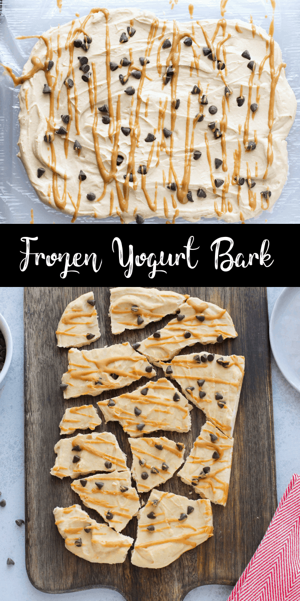 This chocolate peanut butter yogurt bark is an easy, healthy dessert! You can store it in the freezer and grab a piece when you need a sweet treat! It's high in protein with no refined sweetener!
