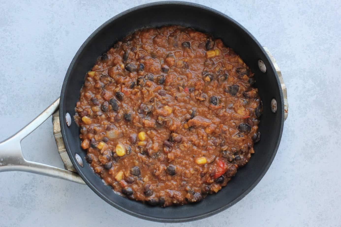 tortilla chili in a pan