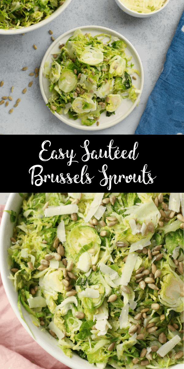 These easy sautéed Brussels sprouts are a low carb vegetarian side dish that pairs perfectly with your favorite protein! Once you've got your Brussels sprouts shredded, this recipe comes together in just 10 minutes!